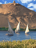 Felucca Sailboats  Temple Ruins and the Large Sand Dunes of the Sahara Desert  Aswan  Egypt