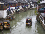 Traditional Houses and Boat on the Grand Canal  Zhujiajiao  Near Shanghai  China