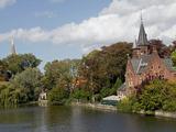 Brick Church on Minnewater Lake  Bruges  Belgium
