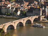 Tour Boat under Alte Brucke  Neckar River Heidelberg Castle and Old Town  Heidelberg  Germany
