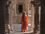 Woman in Jain Temple in Chittorgarh Fort  Rajasthan  India