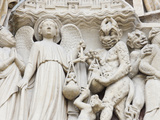 Statues Depicting the Judgment of Souls  Exterior of Notre Dame Cathedral  Paris  France