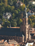 Heidelberg&#39;s Old Town with Church of Holy Ghost (Spirit)  Heidelberg  Germany