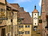 Cross Timbered Houses and Clock Tower  Rothenburg Ob Der Tauber  Germany