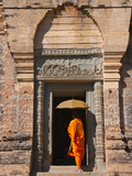 Monk in Prasat Kravan with Brick Structure  Angkor Wat  Cambodia