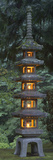 Stone Lantern Illuminated with Candles  Portland Japanese Garden  Oregon  USA
