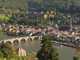 View of Alte Brucke or Old Bridge  Neckar River Heidelberg Castle and Old Town  Heidelberg  Germany