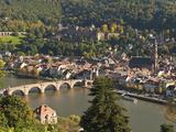 View of Alte Brucke or Old Bridge  Neckar River Heidelberg Castle and Old Town  Heidelberg  Germany