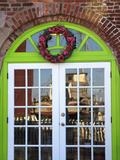 Arched Door with Shrimp Boat Reflection  Apalachicola  Florida  USA