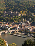 View of Heidelberg&#39;s Old Town  Neckar River and Barge from the Philosophenweg  Heidelberg  Germany