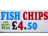 Fish and Chips with Mushy Peas Sign  England  United Kingdom