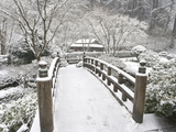 Snow-Covered Moon Bridge  Portland Japanese Garden  Oregon  USA