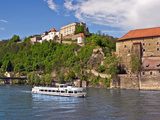 The Danube River Flows in Front of Veste Oberhaus Castle  Passau  Germany