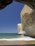 Sea Cave  Beach and Cliffs  Tunnel Beach  Dunedin  South Island  New Zealand