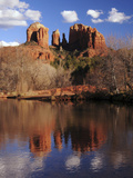 Cathedral Rock and Reflections at Sunset: Red Rock Crossing  Sedona  Arizona  USA