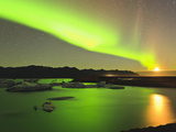 Aurora Borealis and Moon over Icebergs  Jokulsarlon and Breidamerkurjokull  Iceland