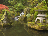 Stone Lantern at Koi Pond at the Portland Japanese Garden  Oregon  USA