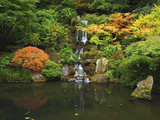 Waterfall in Autumn at the Portland Japanese Garden  Portland  Oregon  USA