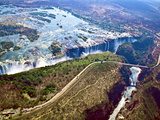Aerial View of Victoria Falls  Waterfall  and the Zambesi River  Zimbabwe