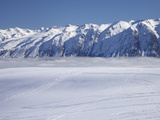Roundhill Ski Area with Lake Tekapo and Hall Range  Mackenzie Country  South Island  New Zealand