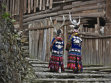Langde Miao Girls in Traditional Costume in the Village  Kaili  Guizhou  China