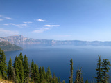Crater Lake Shrouded in Smoke from Forest Fires  Crater Lake Nat'l Park  Southern Oregon  USA