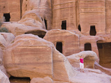 Tourist with Uneishu Tomb  Petra  Jordan