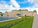 Front Facade of Schloss Schonbrunn Palace  Vienna  Wein  Austria