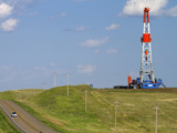 Patterson Uti Oil Drilling Rig Along Highway 200 West of Killdeer  North Dakota  USA