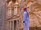 Arab Man Watching Facade of Treasury (Al Khazneh)  Petra  Jordan