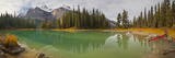 Kayaker on Maligne Lake  Jasper National Park  Alberta  Canada