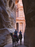 Tourists in Al-Siq Leading to Facade of Treasury (Al Khazneh)  Petra  Jordan