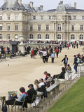People Relaxing at Luxembourg Gardens  Paris  France