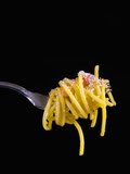 Spaghetti Alla Carbonara  Italian Pasta Dish Based on Eggs  Cheese  Bacon and Black Pepper  Italy