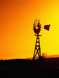 Windmill at Sunset  California  USA