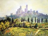 Impressionistic Painting  San Gimignano  Italy