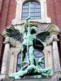 Sculpture of the Archangel Michael Defeating Satan  St Michael's Church  Hamburg  Germany