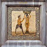 Erotic Tile Mosaic of Pan and Hamadryad from Pompeii  Nat'l Archaeological Museum  Naples  Italy