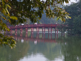 Huc Bridge over Haan Kiem Lake  Vietnam