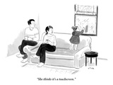 &quot;She thinks it&#39;s a touchscreen&quot; - New Yorker Cartoon