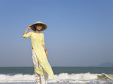 Girl with Conical Hat on the Beach  Vietnam