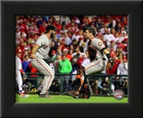 Buster Posey &amp; Brian Wilson Celebrate winning the 2010 NLCS