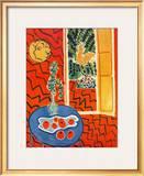 Red Interior  Still Life on Blue Table  c1947