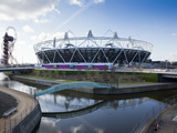 The Olympic Stadium with the Arcelor Mittal Orbit and the River Lee  London  England  UK