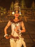 Apsara Dancer in Traditional Costume at Mondial Restaurant  Pokambor Ave  Siem Reap  Cambodia