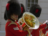 Coldstream Guards Band Practise at Wellington Barracks  Reflected in Brass Tuba  London  England