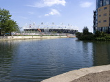 Olympic Stadium from Lee Valley River Navigation  Stratford  London  England