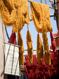 Brightly Coloured Wool Hanging to Dry in the Dyers Souk  Marrakech  Morocco  North Africa  Africa