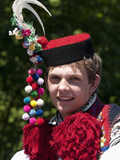 Young Man Wearing Folk Dress During Festival Ride of Kings  Vlcnov  Zlinsko  Czech Republic  Europe