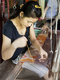 Weaver Working on Traditional Loom at Ock Pop Tok  Living Craft Centre  Ban Saylom  Laos
